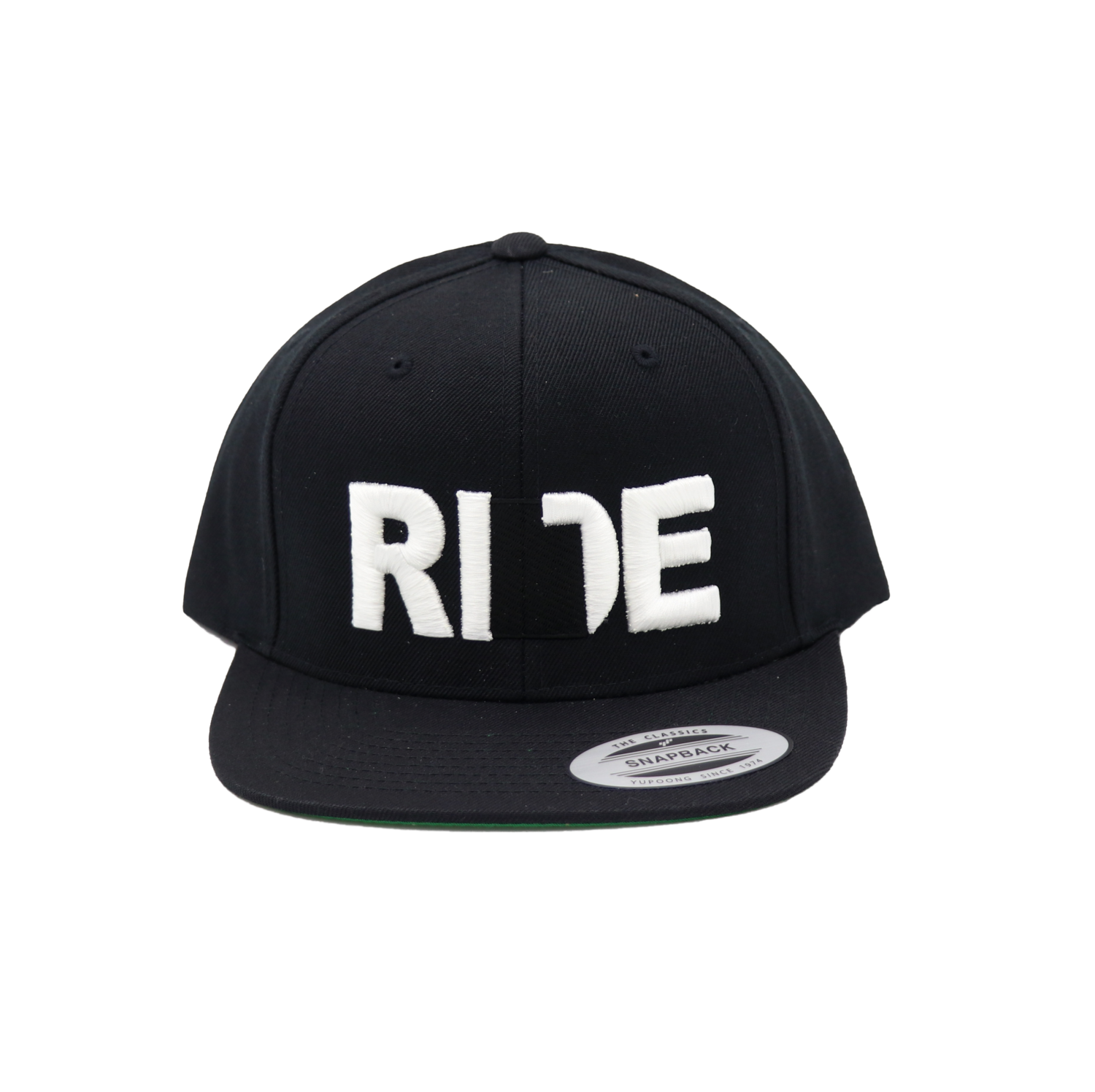 Ride Utah Hat Classic Embroidered  Snapback Flat Brim Hat Black/White