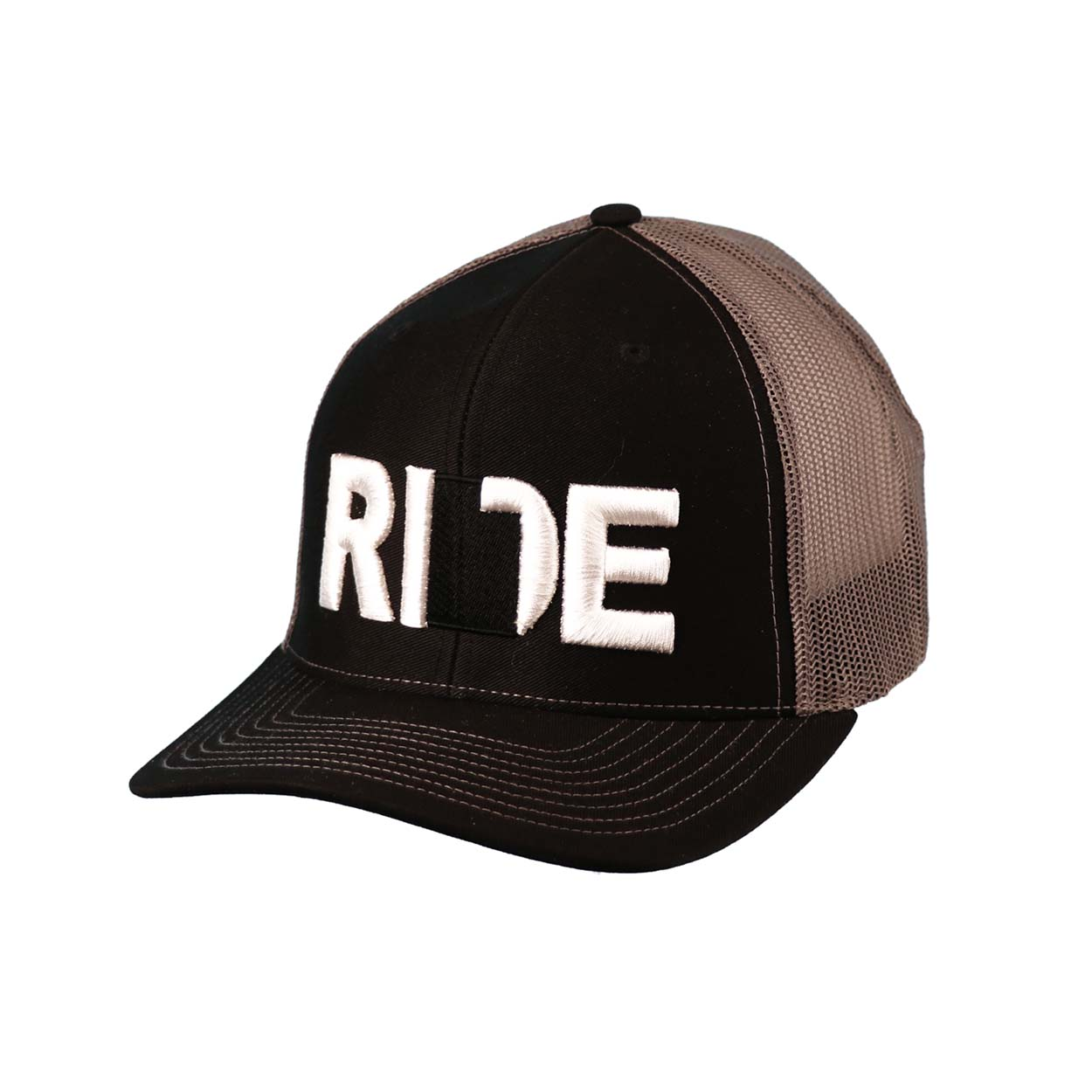 Ride Utah Classic Embroidered Snapback Trucker Hat Black/White
