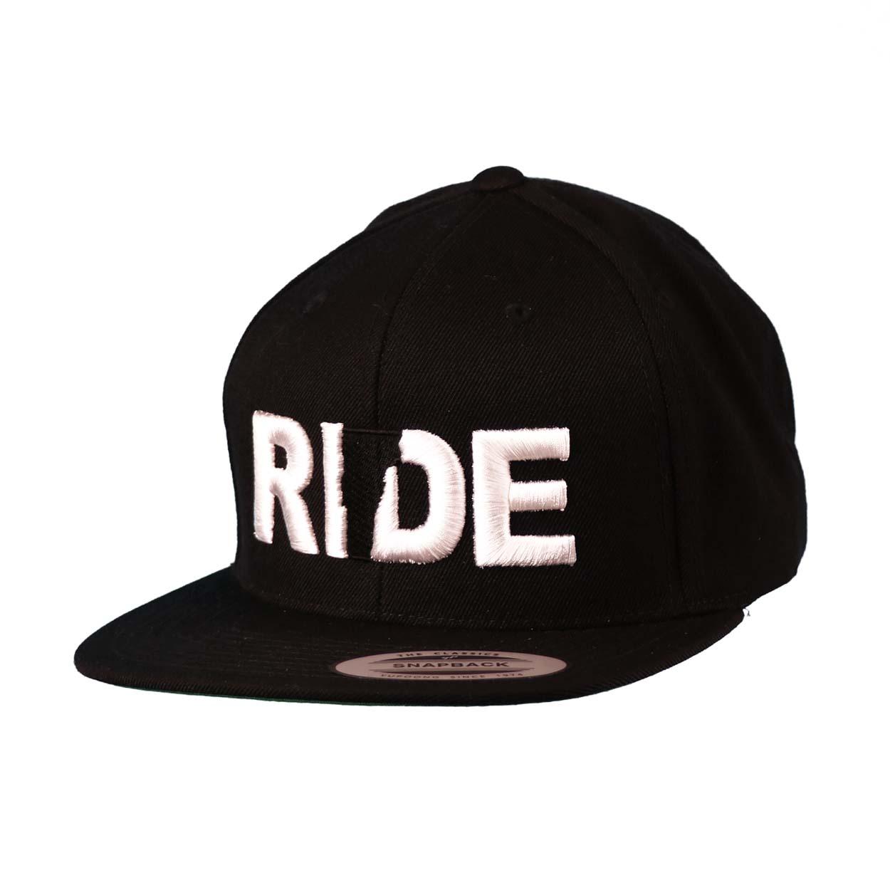 Ride Vermont Classic Embroidered  Snapback Flat Brim Hat Black/White