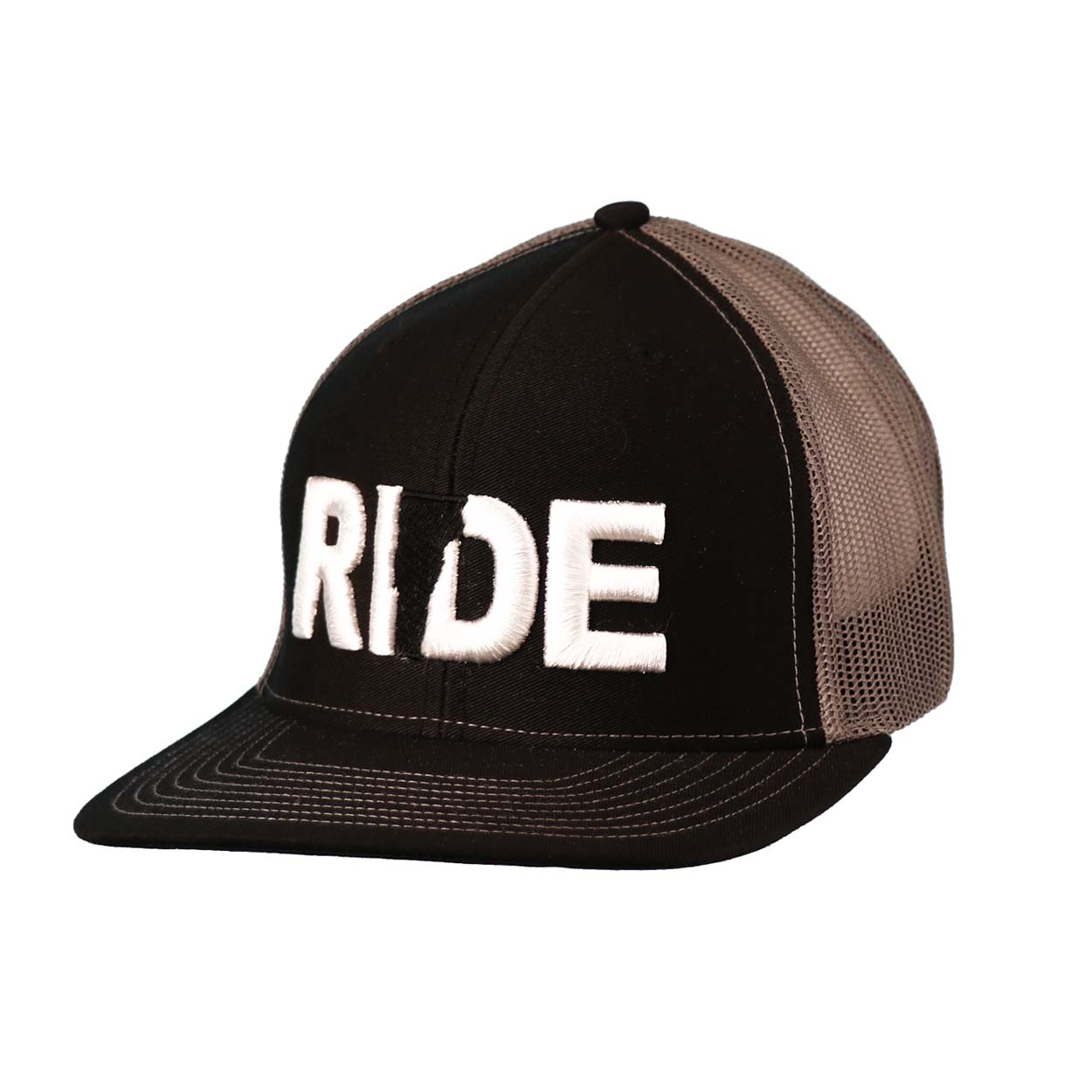 Ride Vermont Classic Embroidered Snapback Trucker Hat Black/White