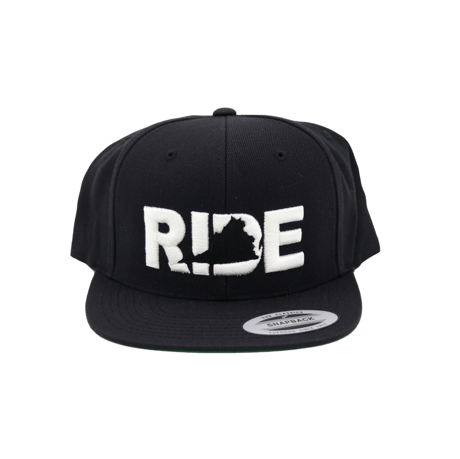 Ride Virginia Classic Embroidered  Snapback Flat Brim Hat Black/White