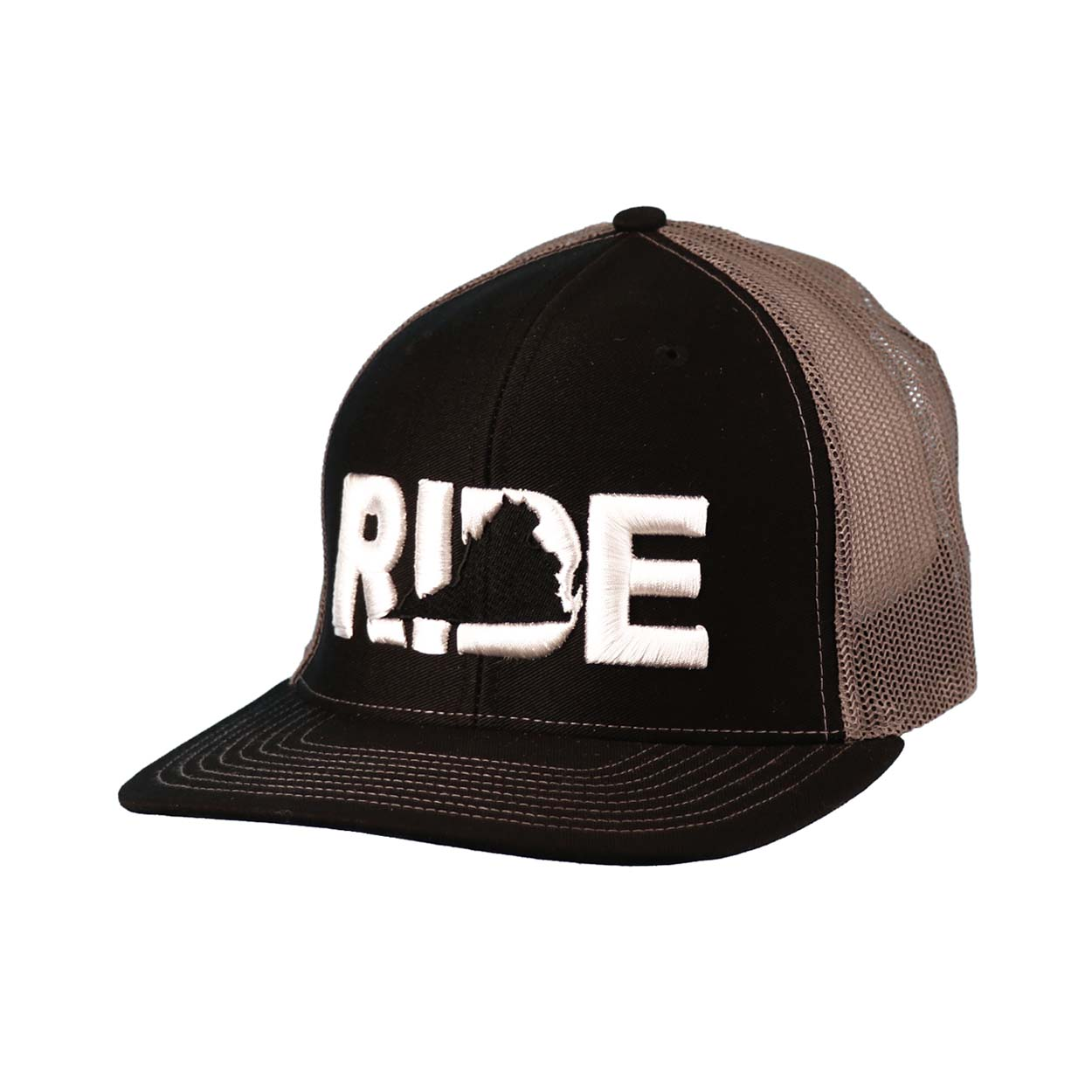 Ride Virginia Classic Embroidered Snapback Trucker Hat Black/White