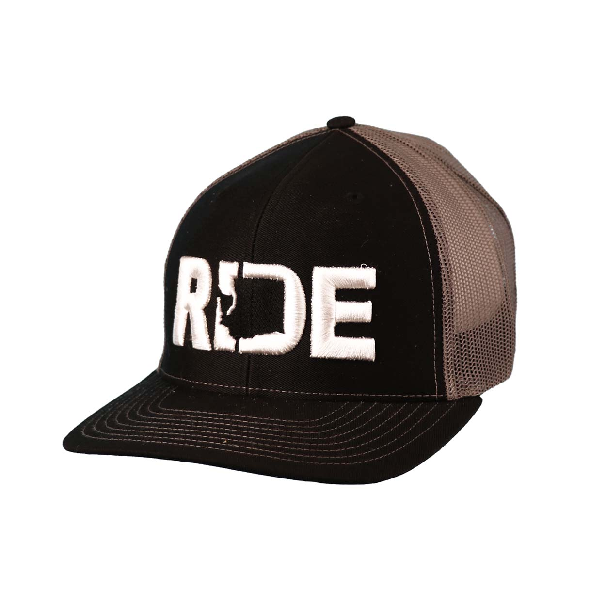 Ride Washington Classic Embroidered Snapback Trucker Hat Black/White
