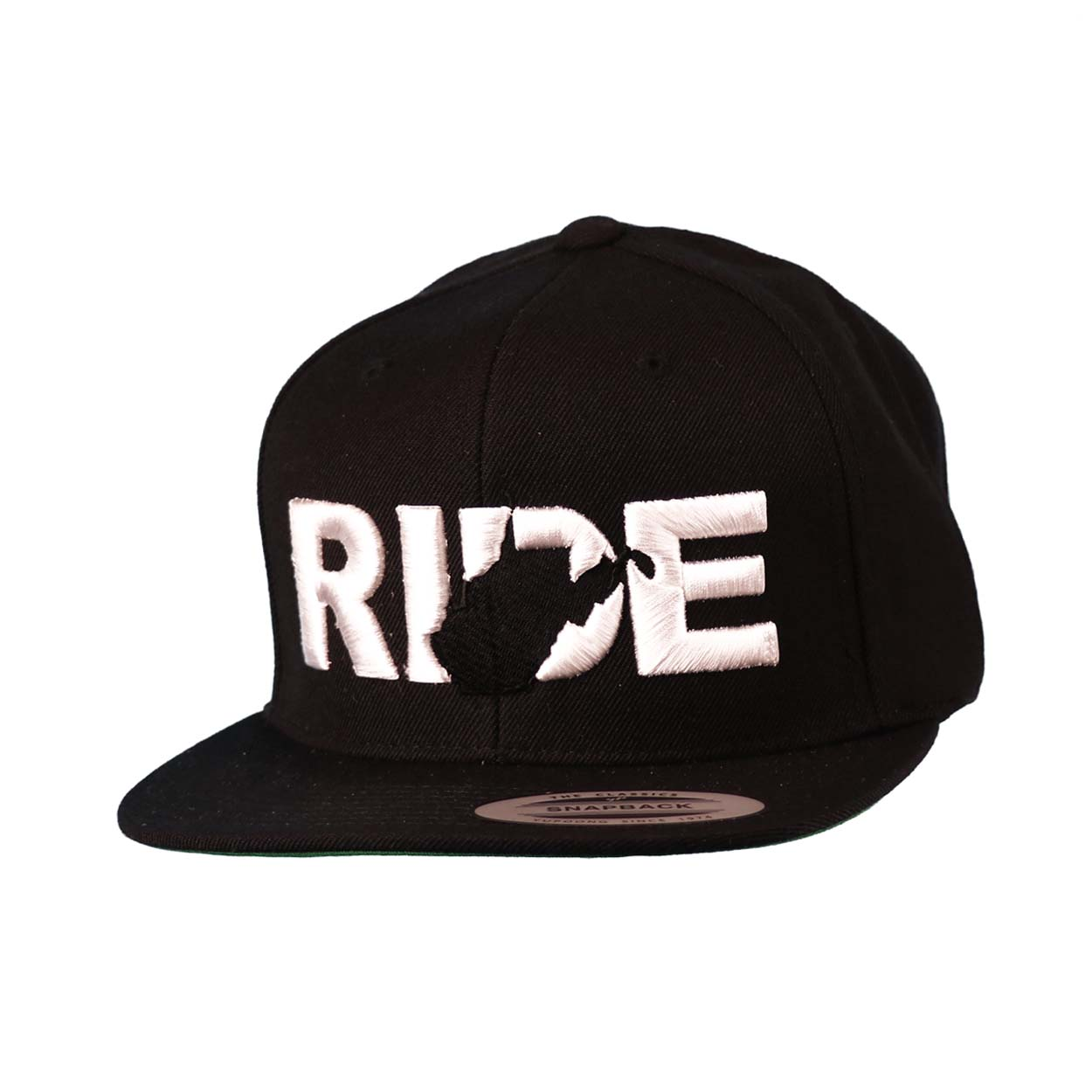 Ride West Virginia Classic Embroidered  Snapback Flat Brim Hat Black/White