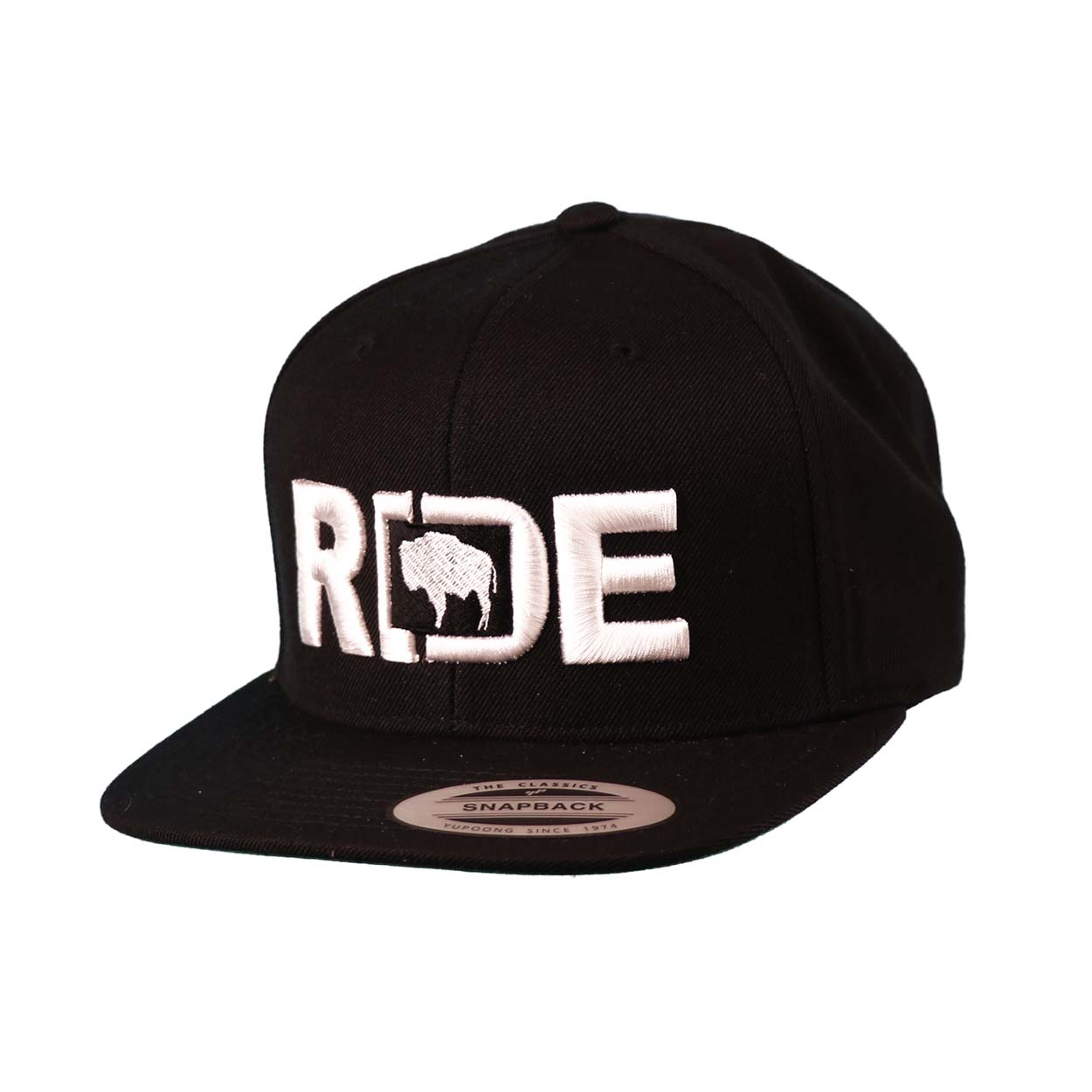 Ride Wyoming Classic Embroidered  Snapback Flat Brim Hat Black/White