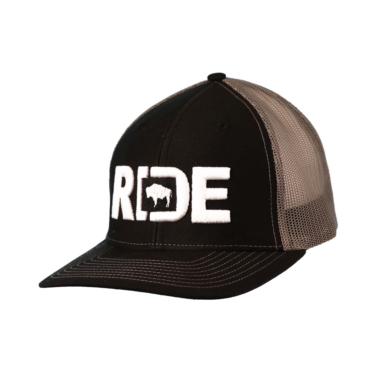 Ride Wyoming Classic Embroidered Snapback Trucker Hat Black/White