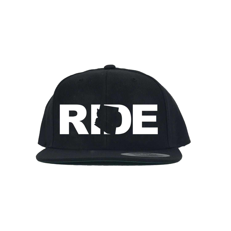 Ride Arizona Classic Embroidered  Snapback Flat Brim Hat Black/White