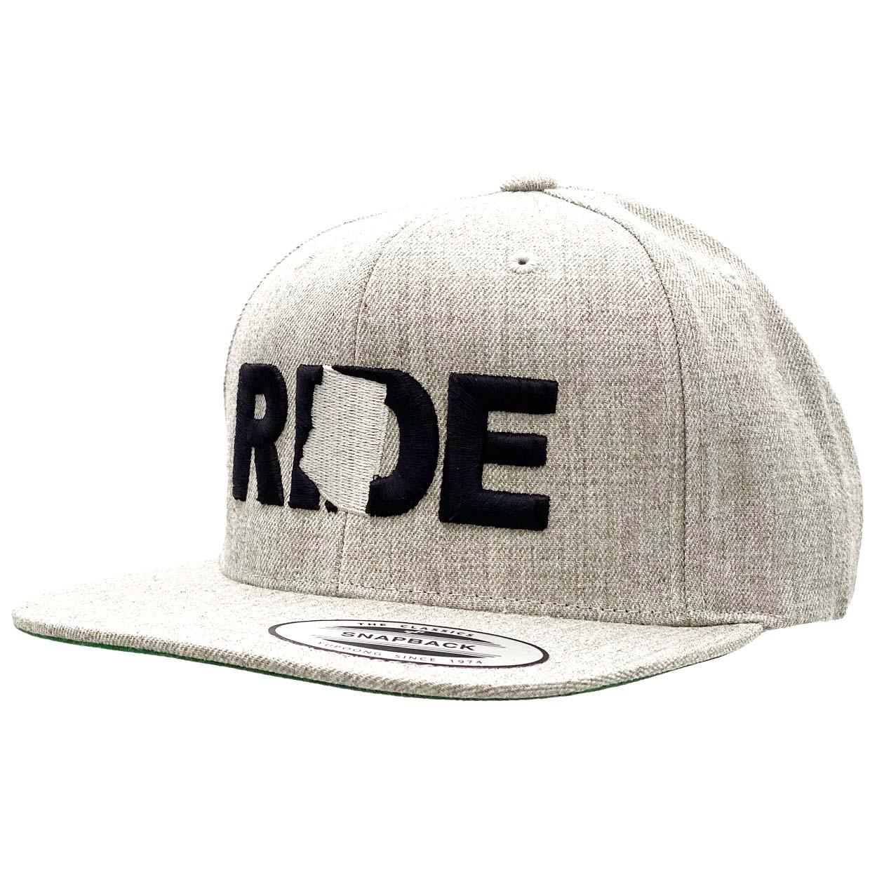 Ride Arizona Classic Embroidered  Snapback Flat Brim Hat Gray/Black