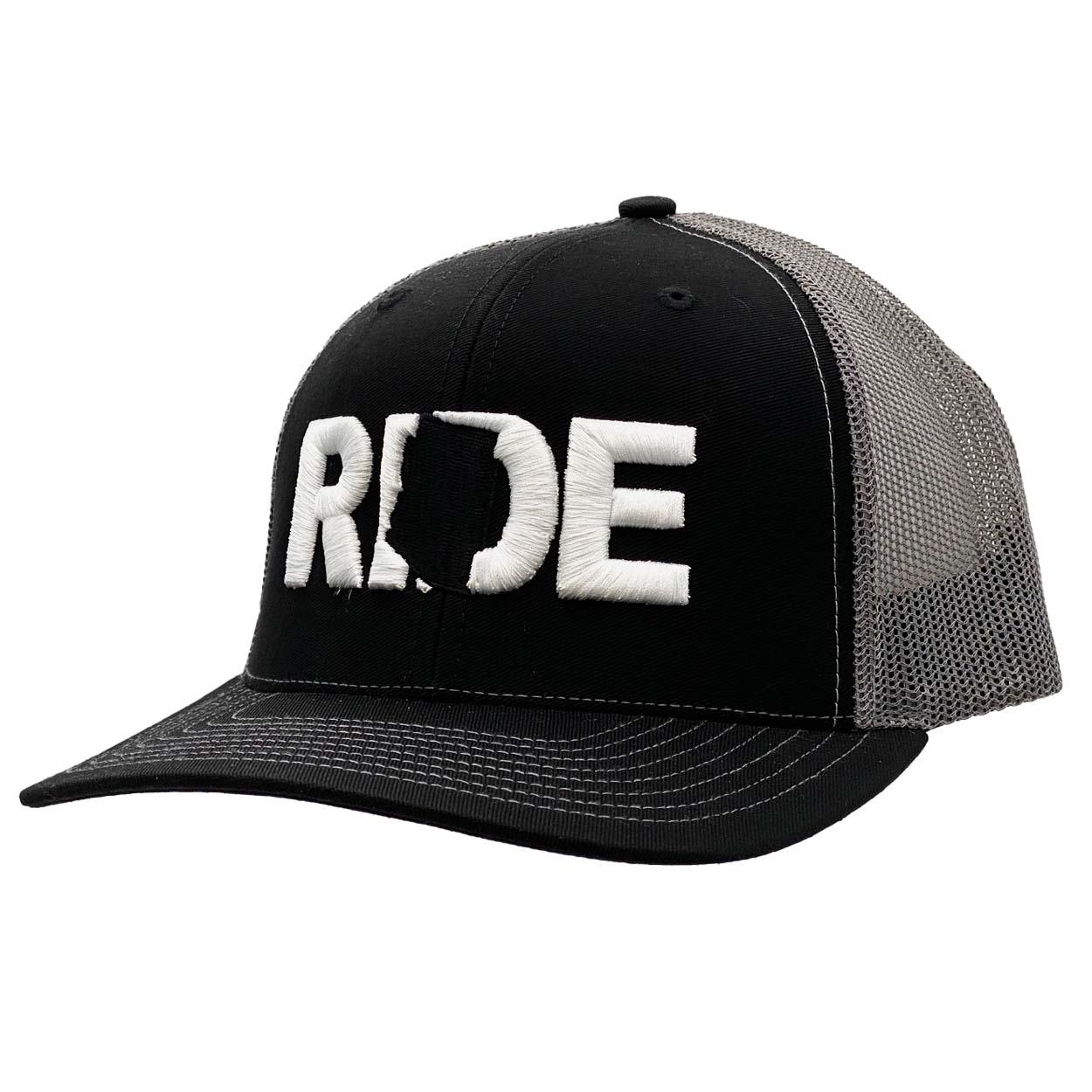 Ride Arizona Classic Embroidered Snapback Trucker Hat Black/White