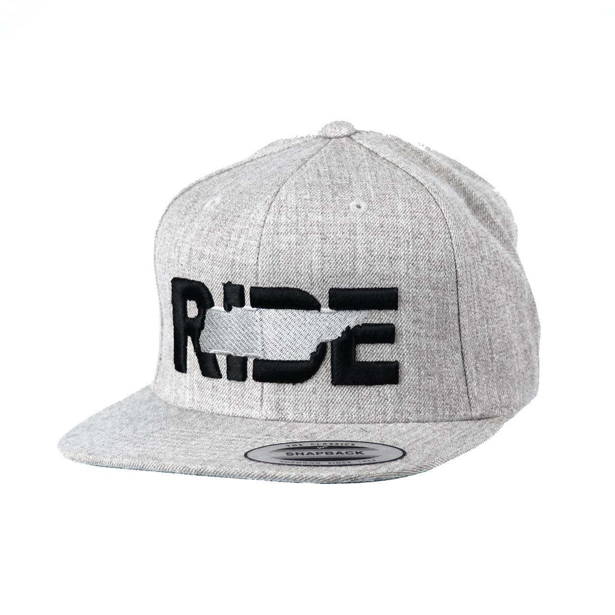 Ride Tennessee Classic Embroidered  Snapback Flat Brim Hat Gray/Black