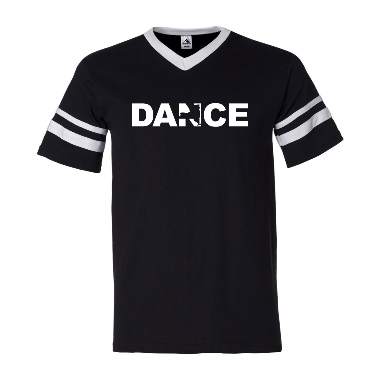 Dance New York Classic Premium Striped Jersey T-Shirt Black/White (White Logo)