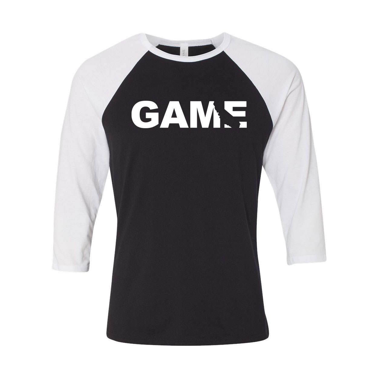 Game California Classic Raglan Shirt Black/White (White Logo)