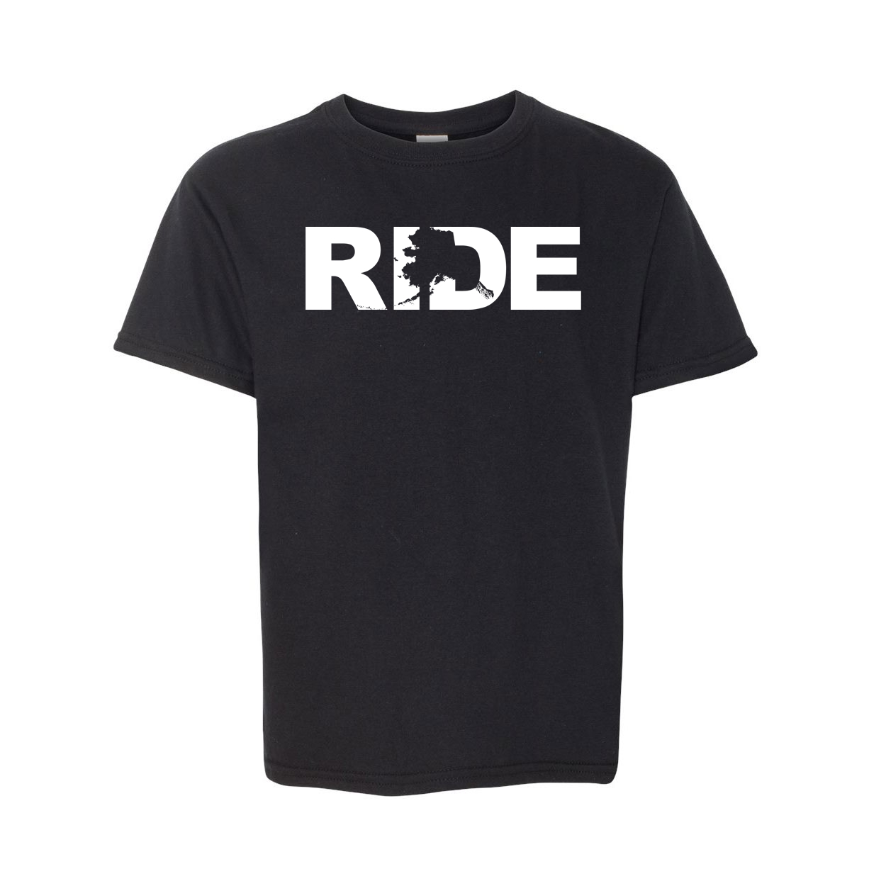 Ride Alaska Classic Youth T-Shirt Black (White Logo)