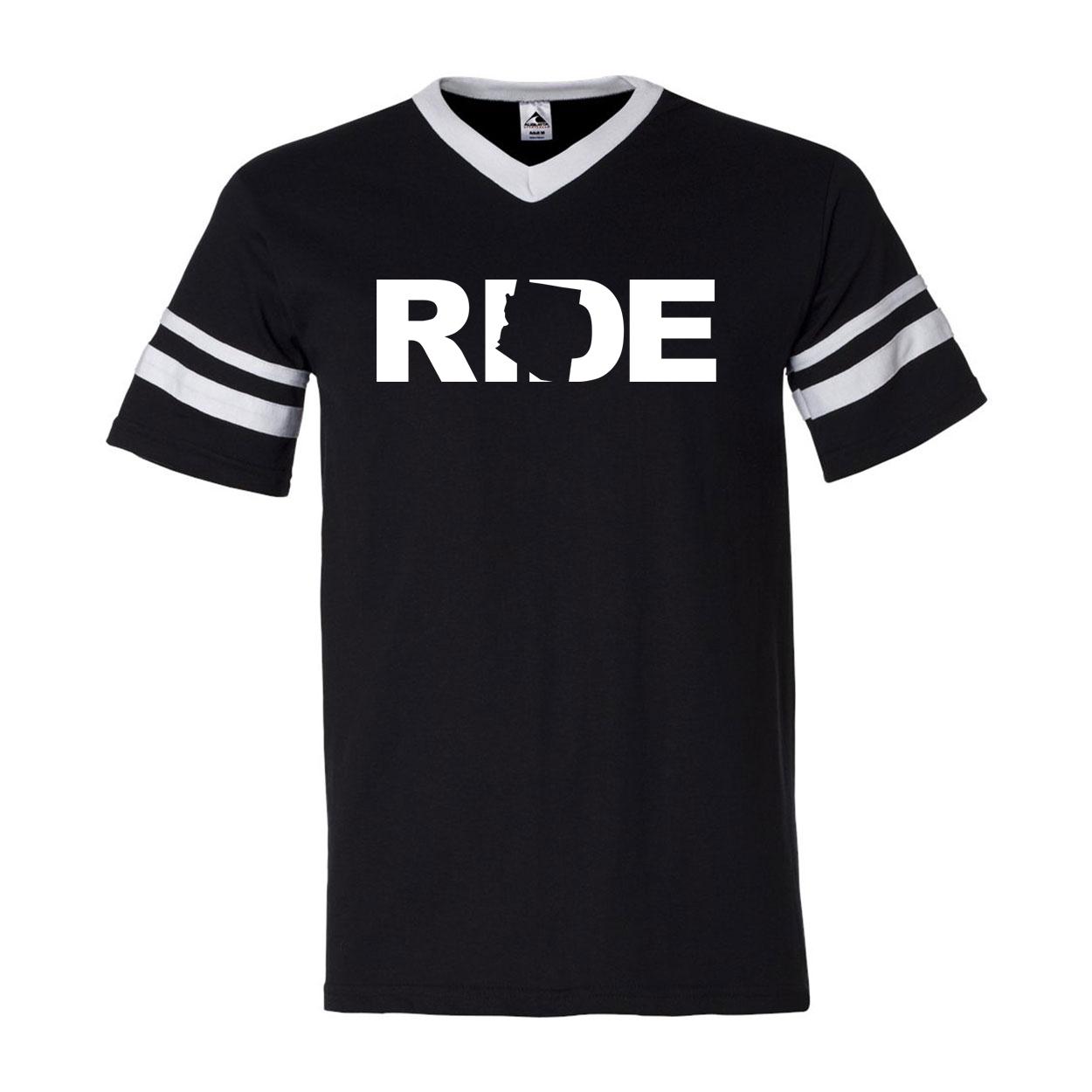 Ride Arizona Classic Premium Striped Jersey T-Shirt Black/White (White Logo)