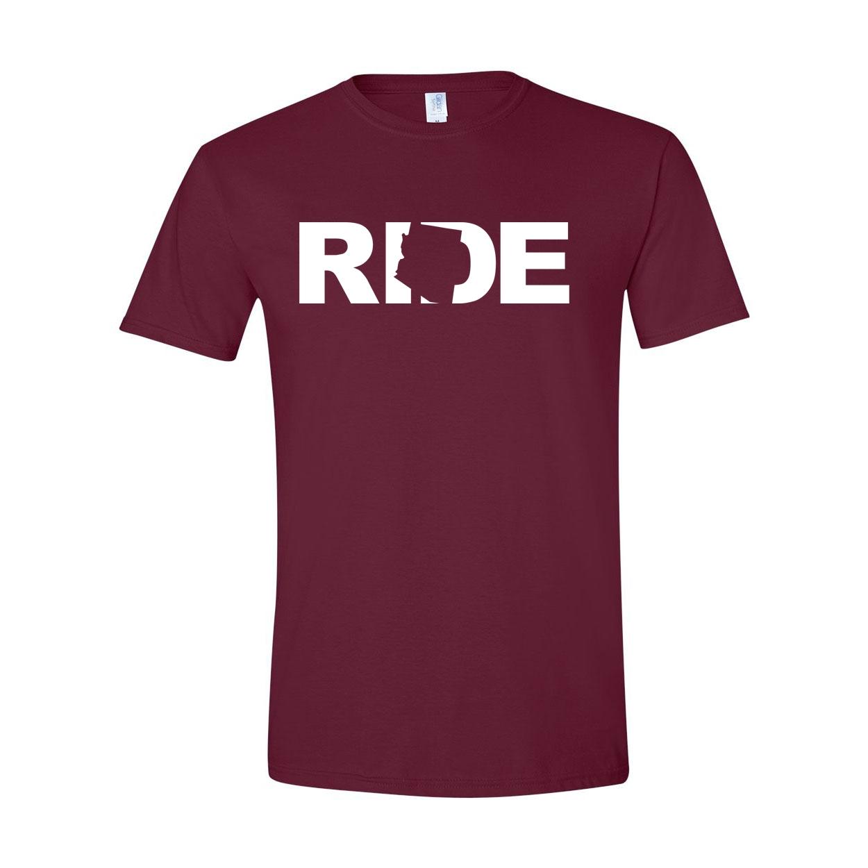 Ride Arizona Classic T-Shirt Maroon (White Logo)