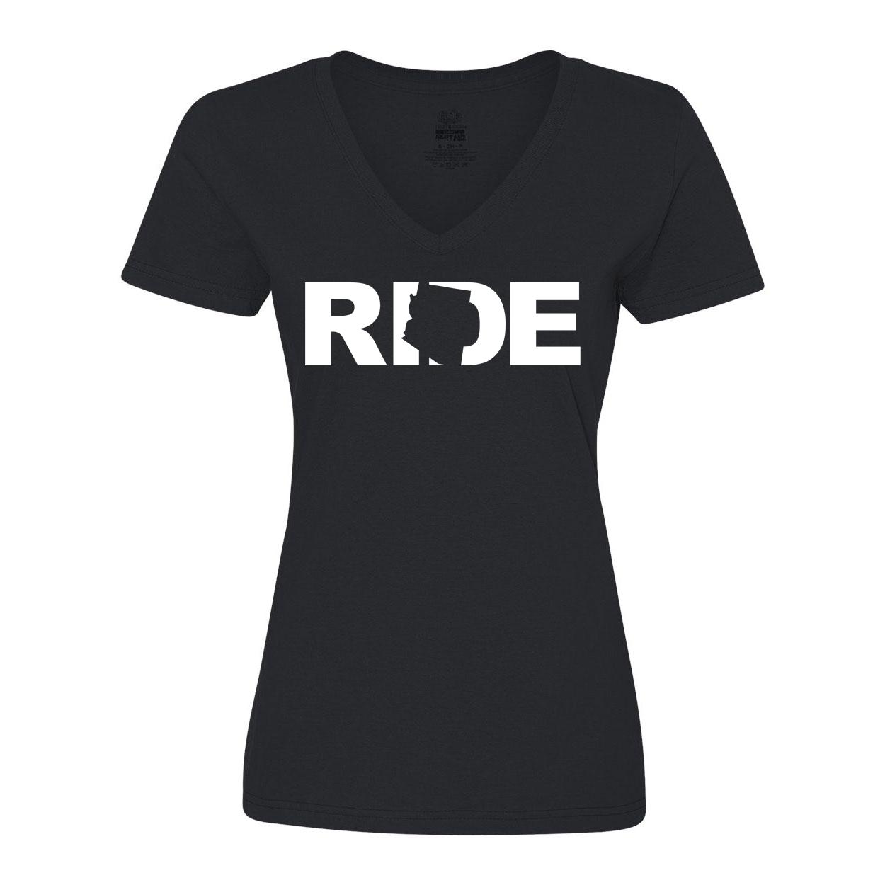 Ride Arizona Classic Women's V-Neck Shirt Black (White Logo)