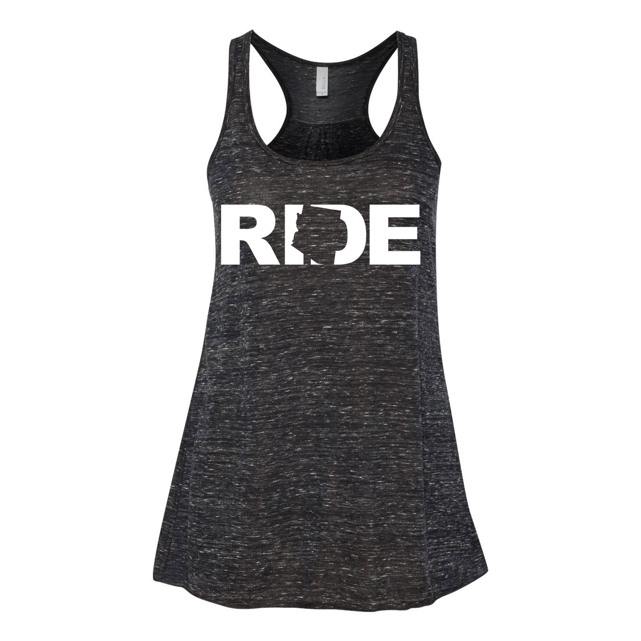 Ride Arizona Classic Women's Flowy Racerback Tank Top Black Marble (White Logo)