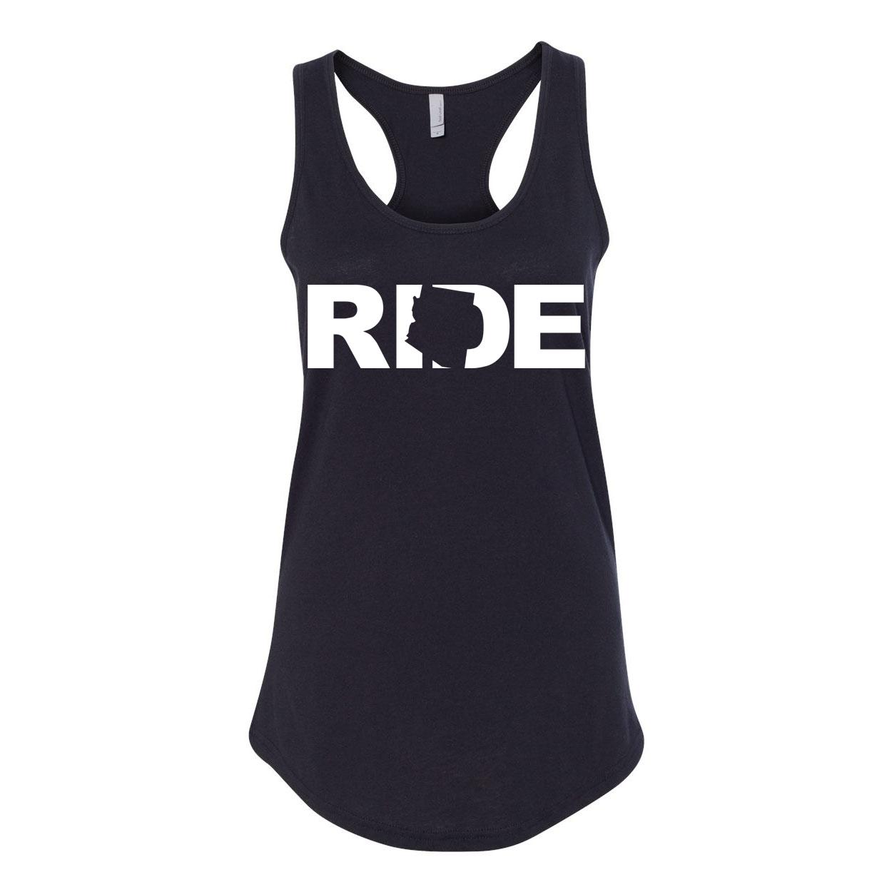 Ride Arizona Classic Women's Racerback Tank Top Black (White Logo)