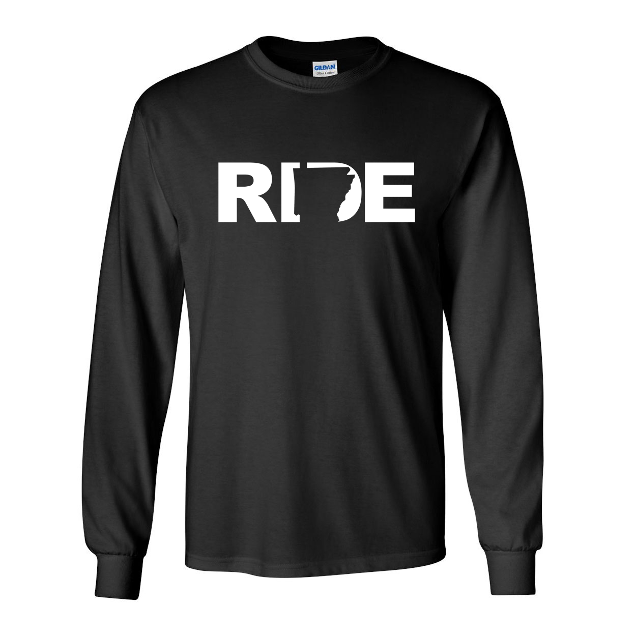 Ride Arkansas Classic Long Sleeve T-Shirt Black (White Logo)