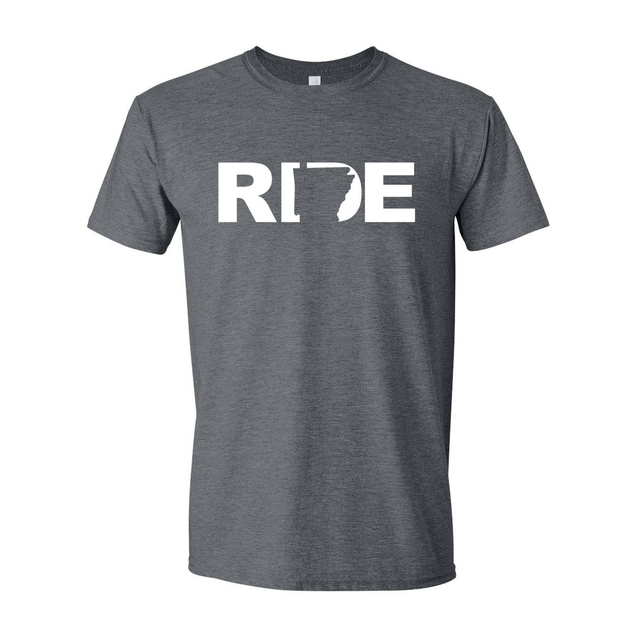 Ride Arkansas Classic T-Shirt Dark Heather Gray (White Logo)