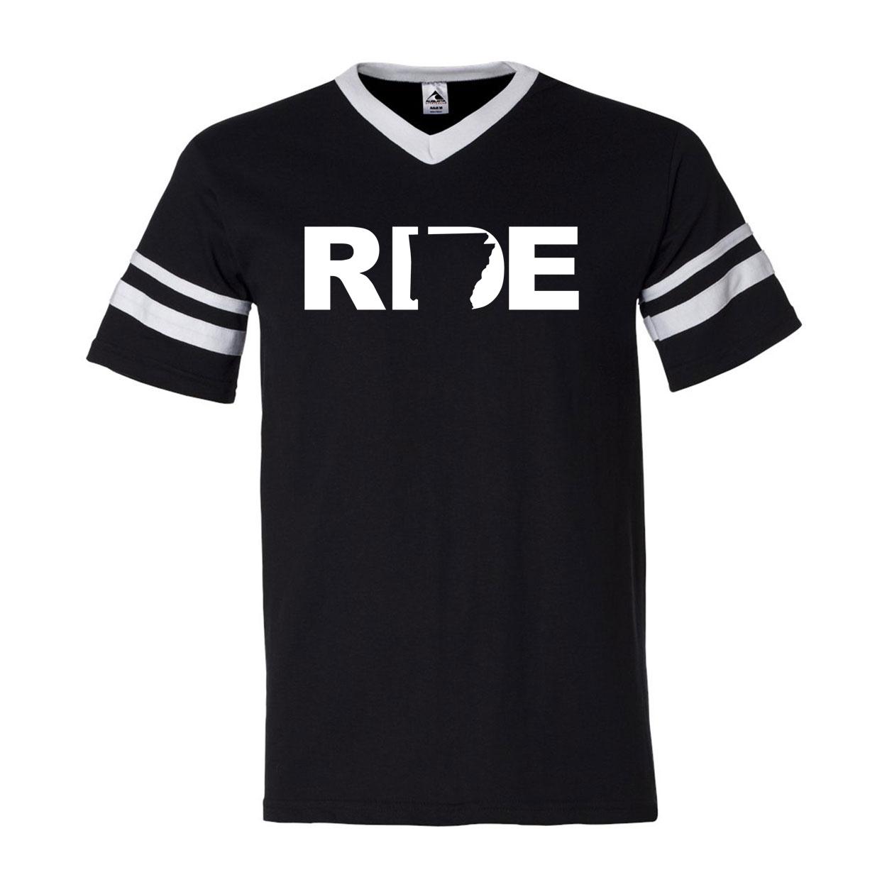 Ride Arkansas Classic Premium Striped Jersey T-Shirt Black/White (White Logo)
