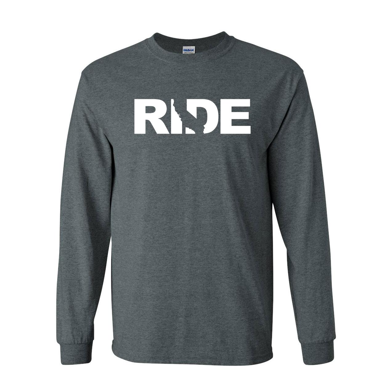 Ride California Classic Long Sleeve T-Shirt Dark Heather (White Logo)