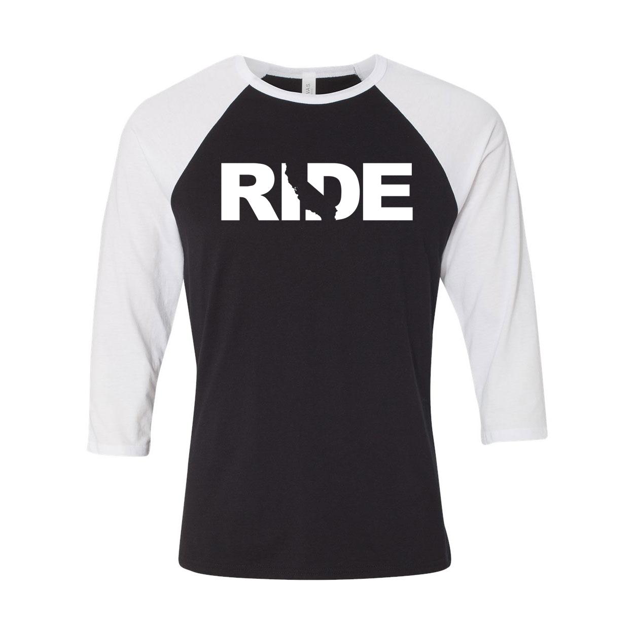 Ride California Classic Raglan Shirt Black/White (White Logo)