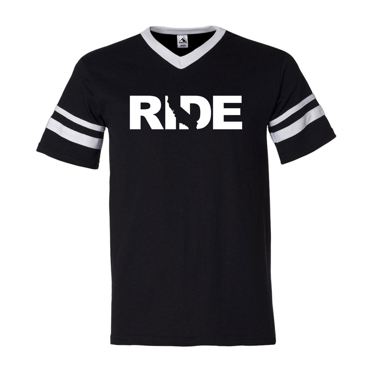 Ride California Classic Premium Striped Jersey T-Shirt Black/White (White Logo)