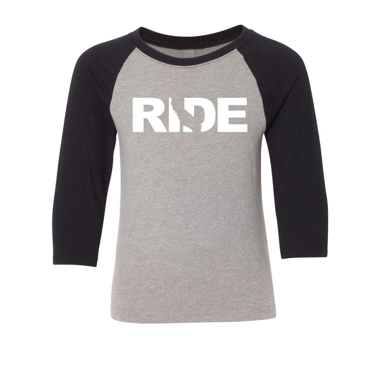 Ride California Classic Youth Premium Raglan Shirt Gray/Black (White Logo)
