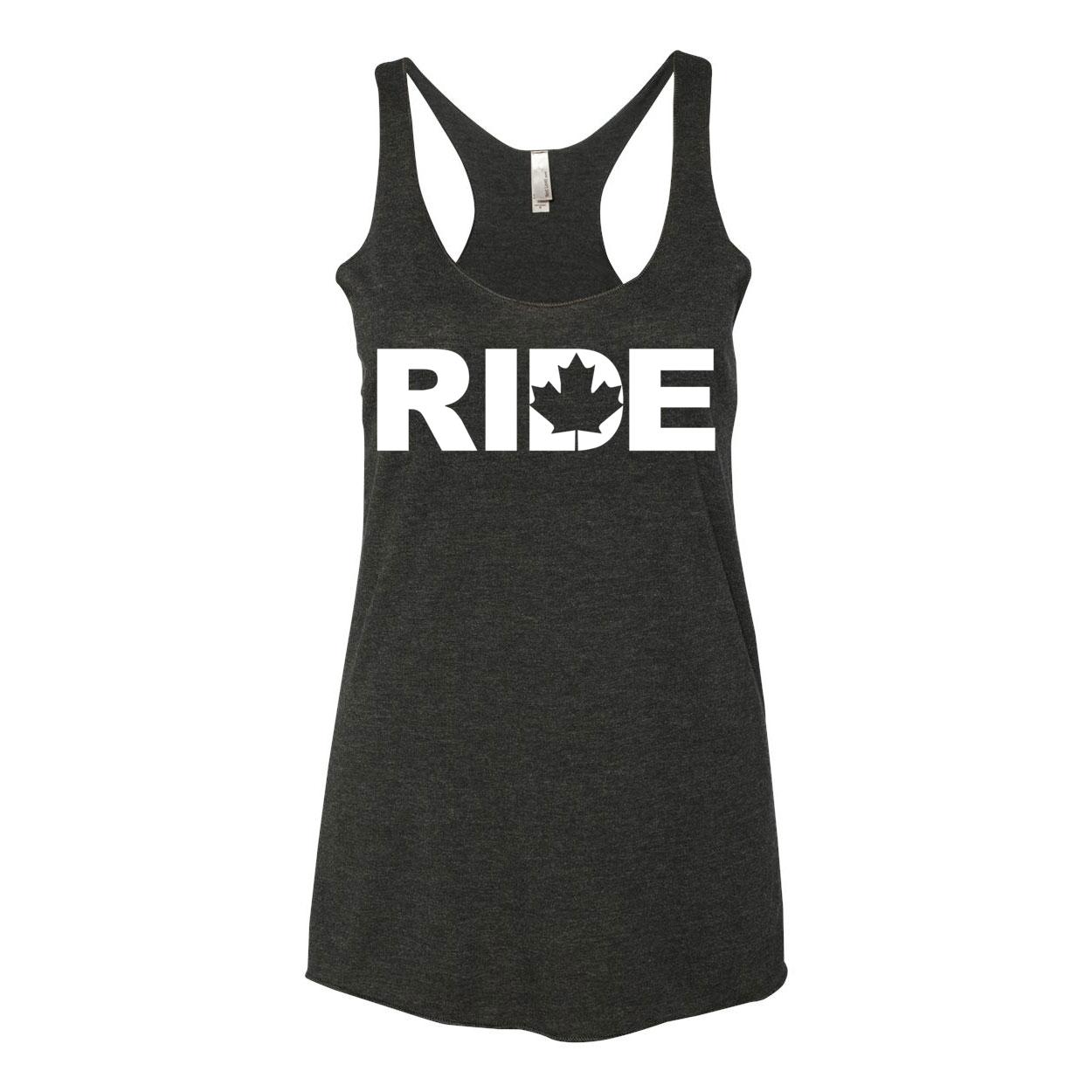 Ride Canada Classic Women's Ultra Thin Tank Top Black (White Logo)