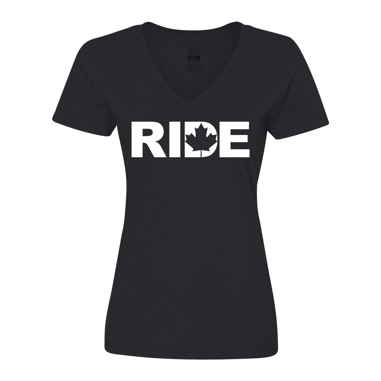 Ride Canada Classic Women's V-Neck Shirt Black (White Logo)