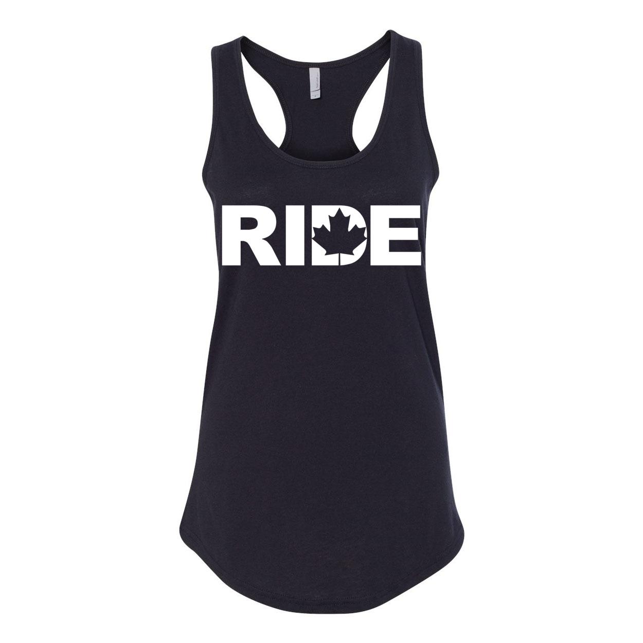 Ride Canada Classic Women's Racerback Tank Top Black (White Logo)