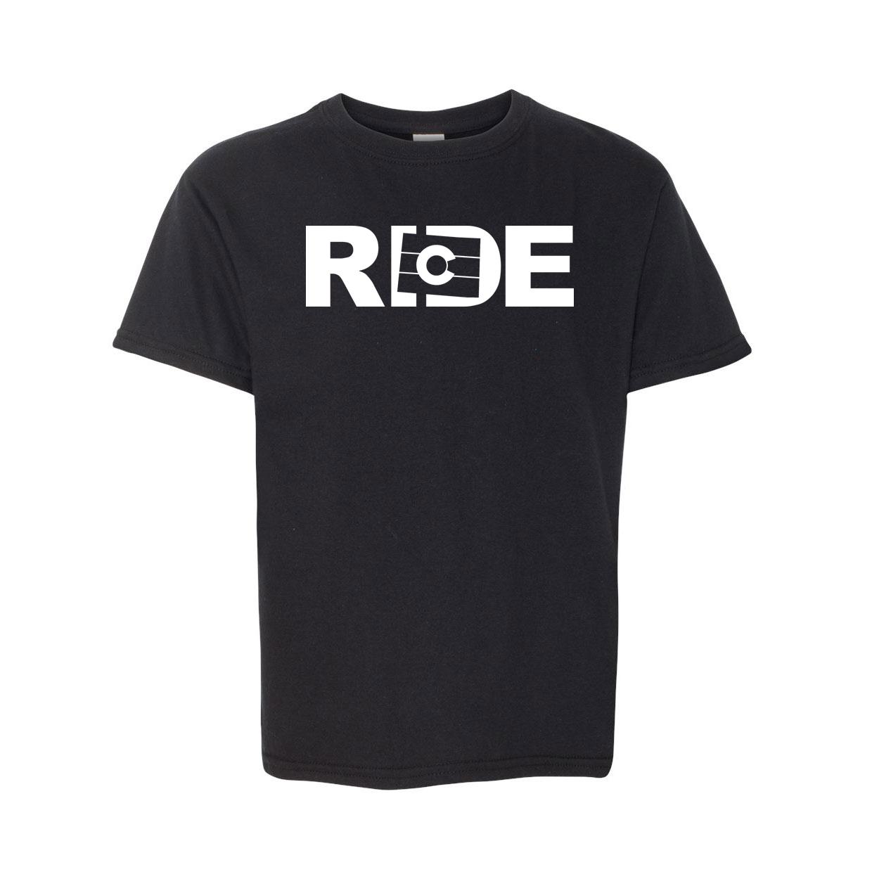 Ride Colorado Classic Youth T-Shirt Black (White Logo)
