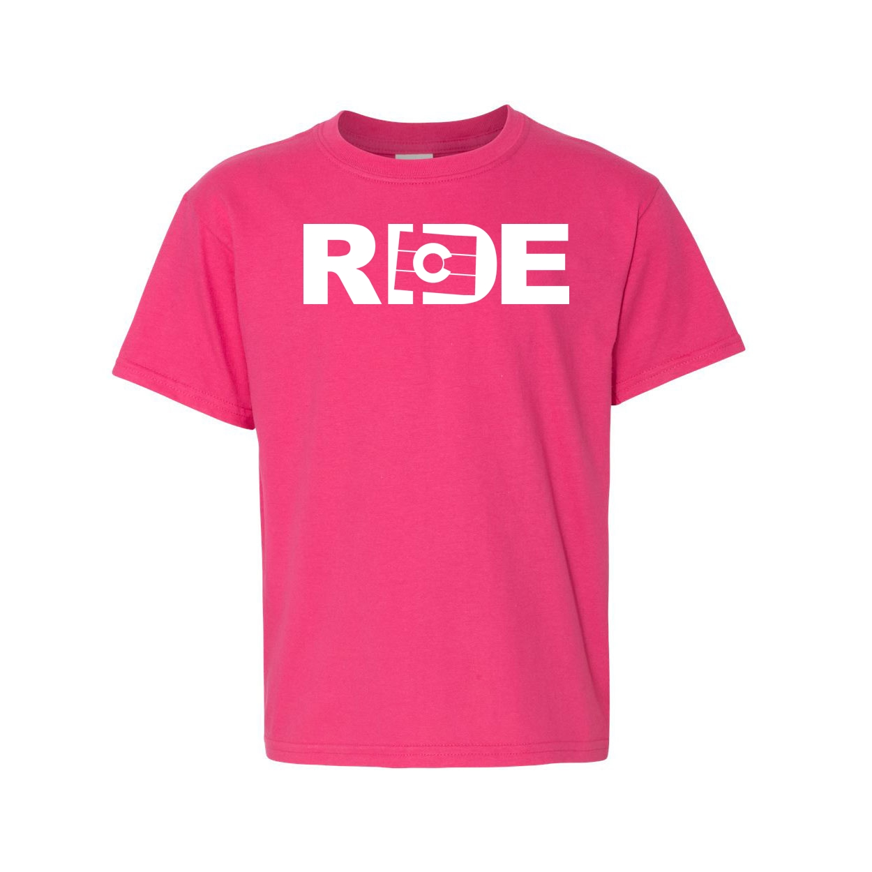 Ride Colorado Classic Youth T-Shirt Pink (White Logo)