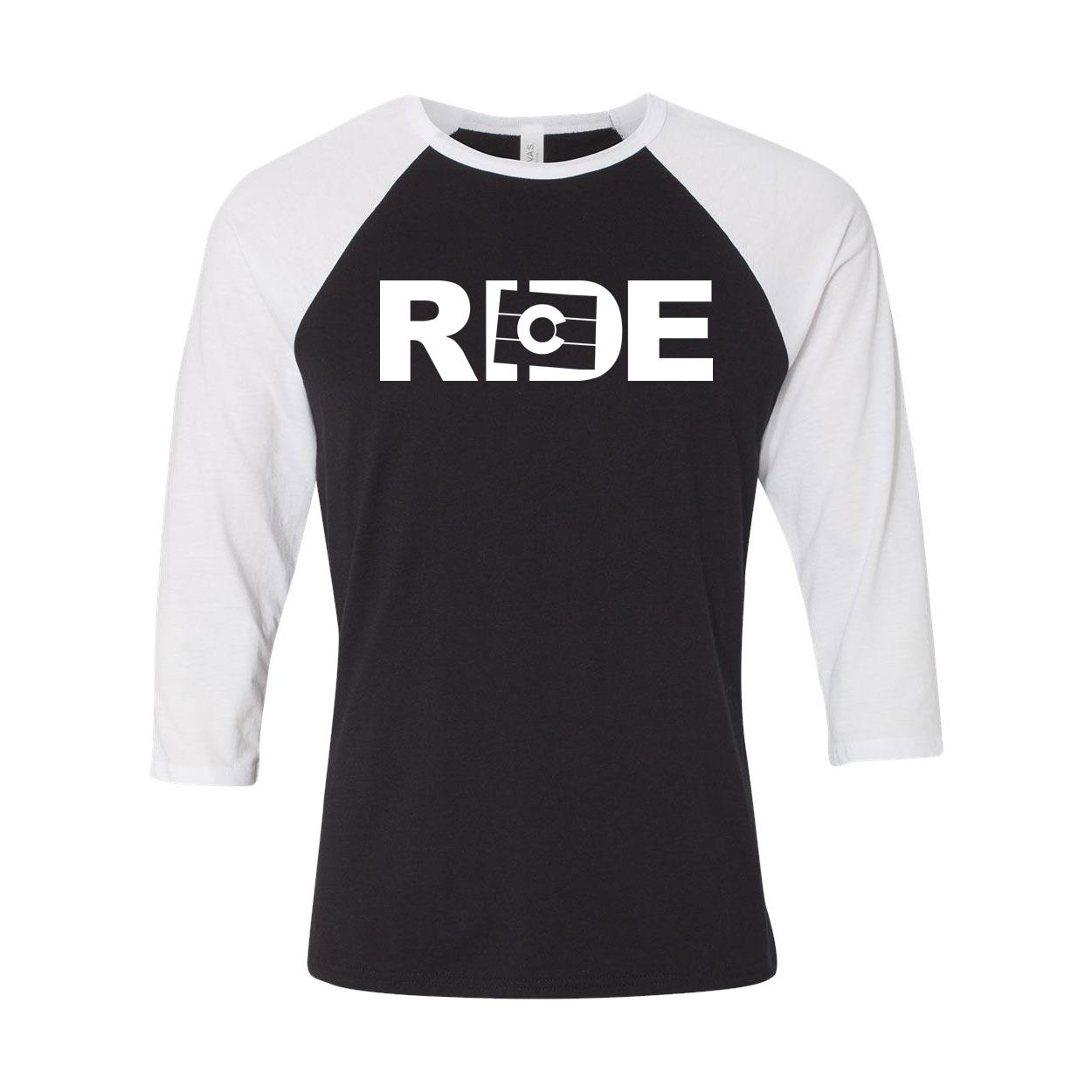 Ride Colorado Classic Raglan Shirt Black/White (White Logo)