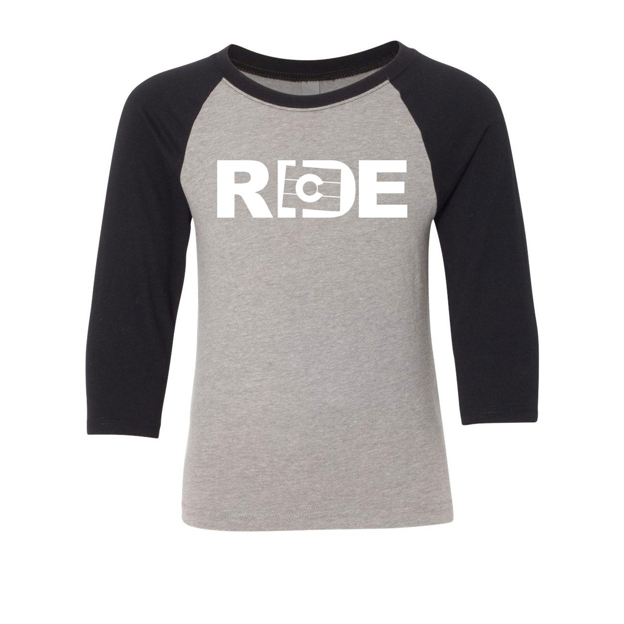 Ride Colorado Classic Youth Premium Raglan Shirt Gray/Black (White Logo)
