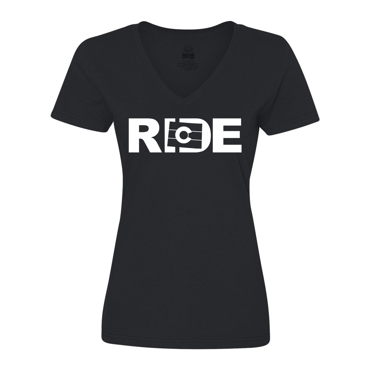 Ride Colorado Classic Women's V-Neck Shirt Black (White Logo)
