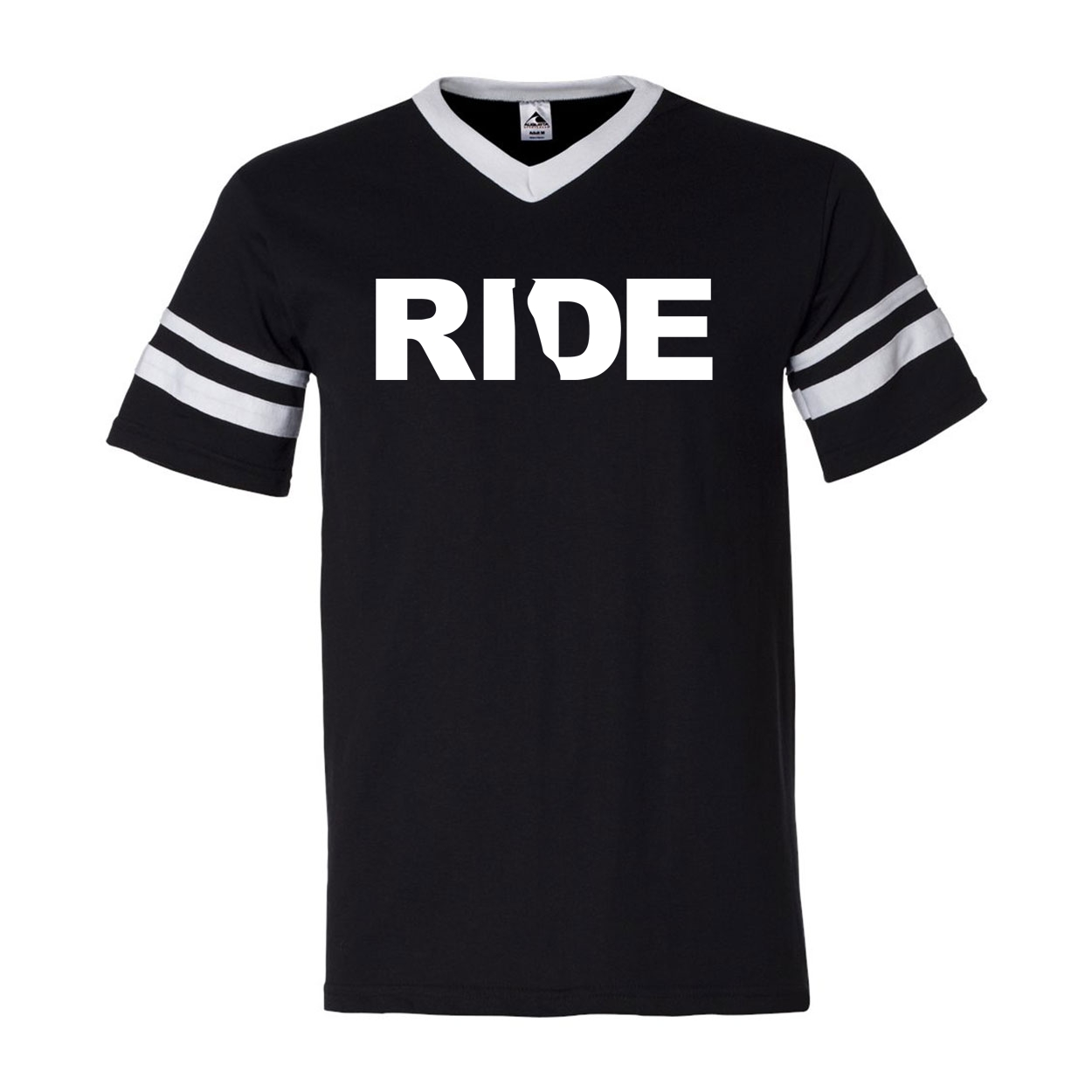 Ride Delaware Classic Premium Striped Jersey T-Shirt Black/White (White Logo)