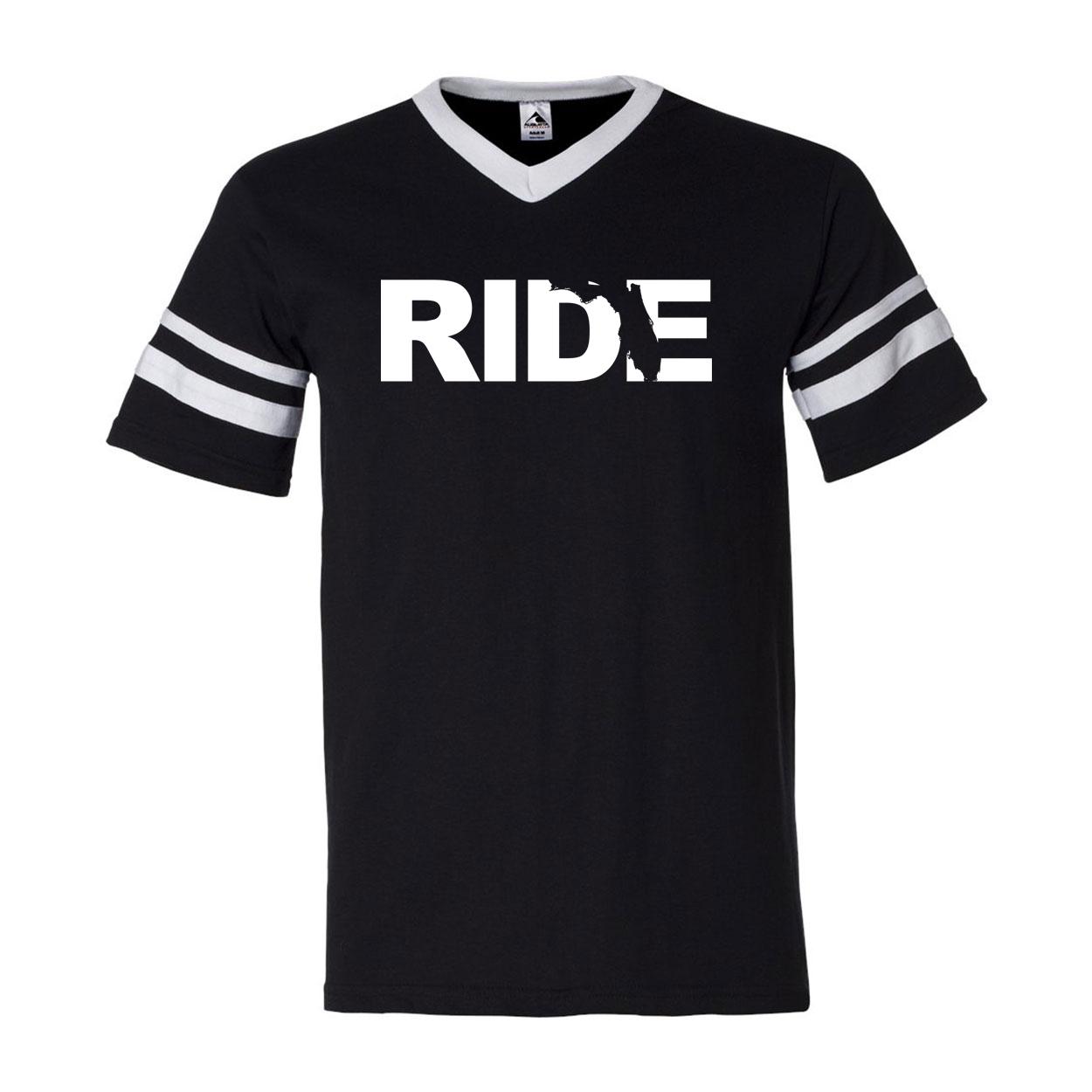Ride Florida Classic Premium Striped Jersey T-Shirt Black/White (White Logo)