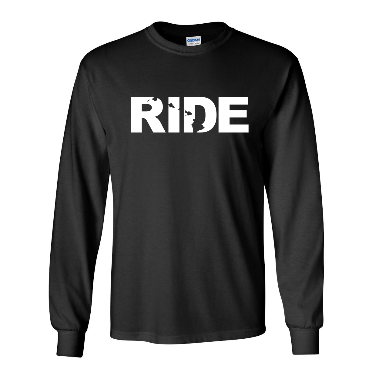 Ride Hawaii Classic Long Sleeve T-Shirt Black (White Logo)