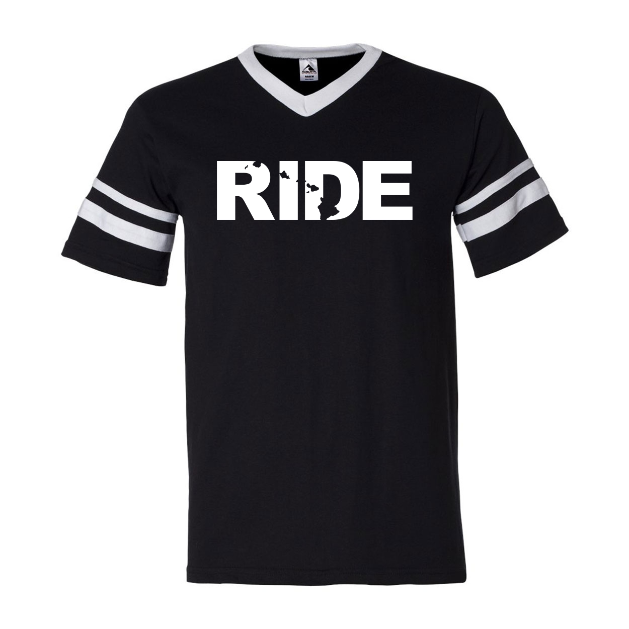 Ride Hawaii Classic Premium Striped Jersey T-Shirt Black/White (White Logo)
