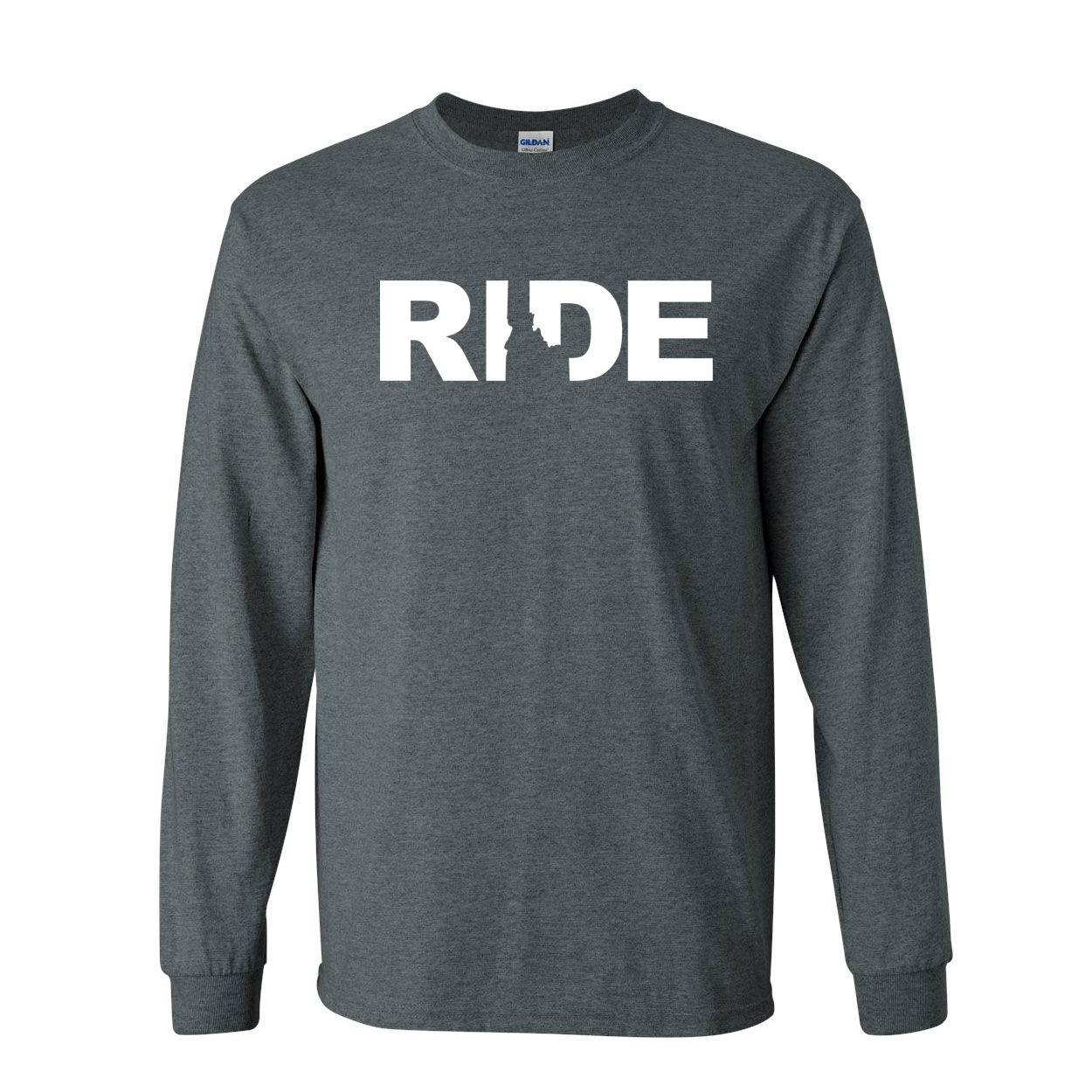 Ride Idaho Classic Long Sleeve T-Shirt Dark Heather (White Logo)