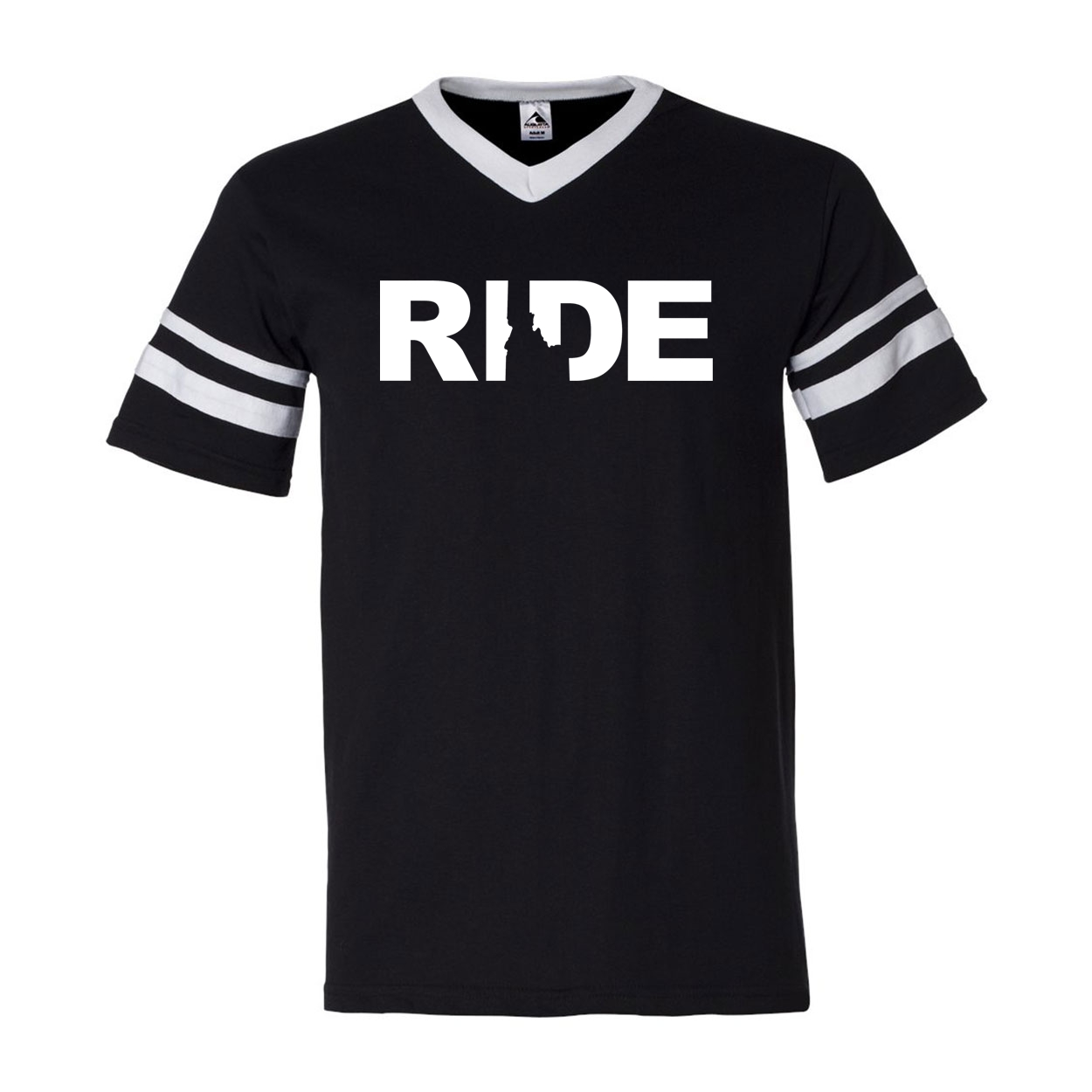 Ride Idaho Classic Premium Striped Jersey T-Shirt Black/White (White Logo)