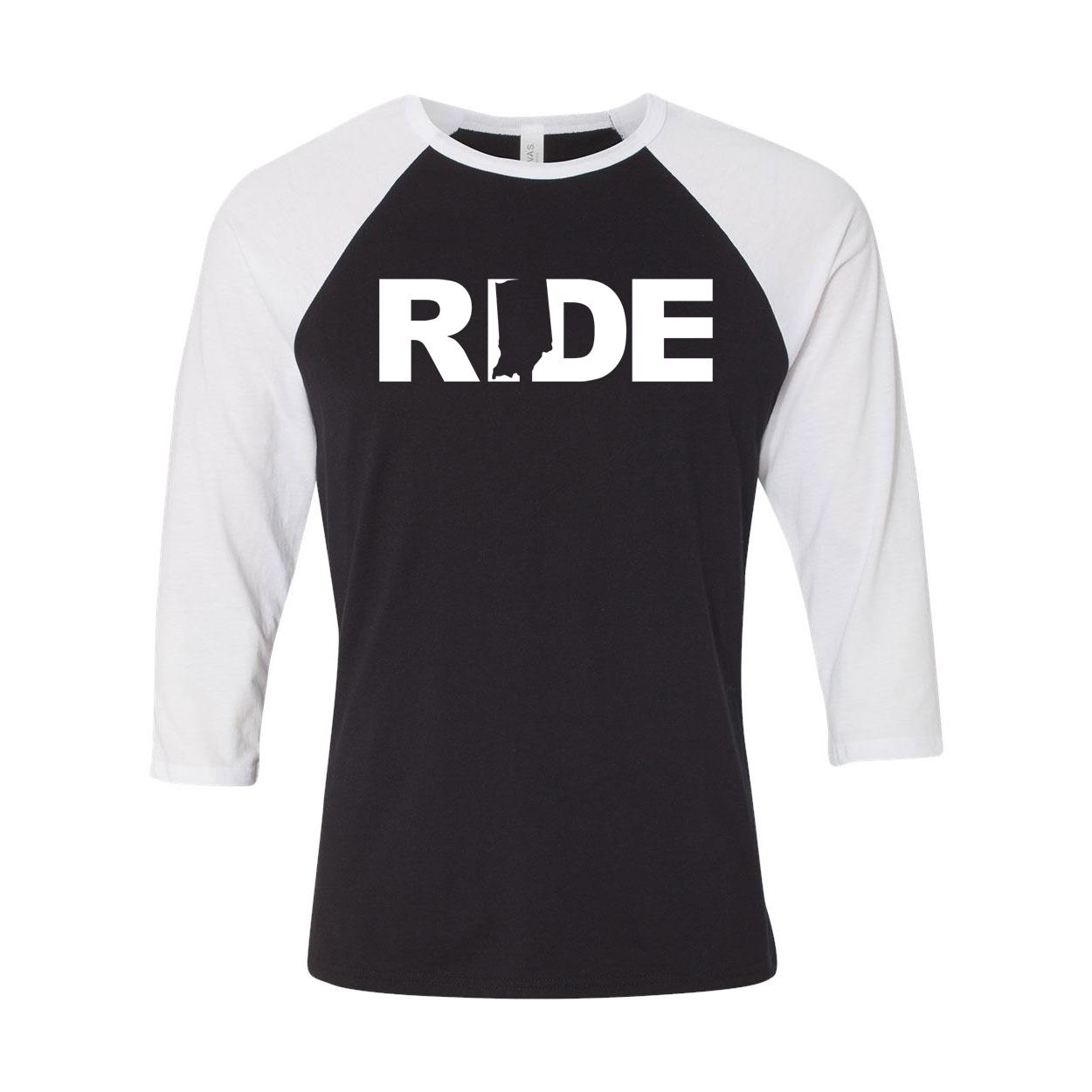 Ride Indiana Classic Raglan Shirt Black/White (White Logo)