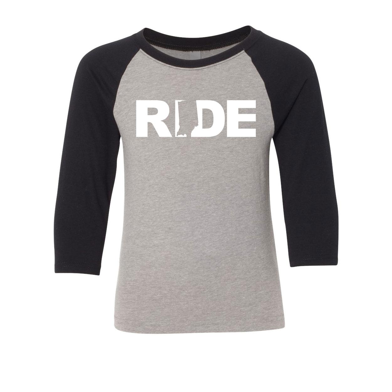 Ride Indiana Classic Youth Premium Raglan Shirt Gray/Black (White Logo)