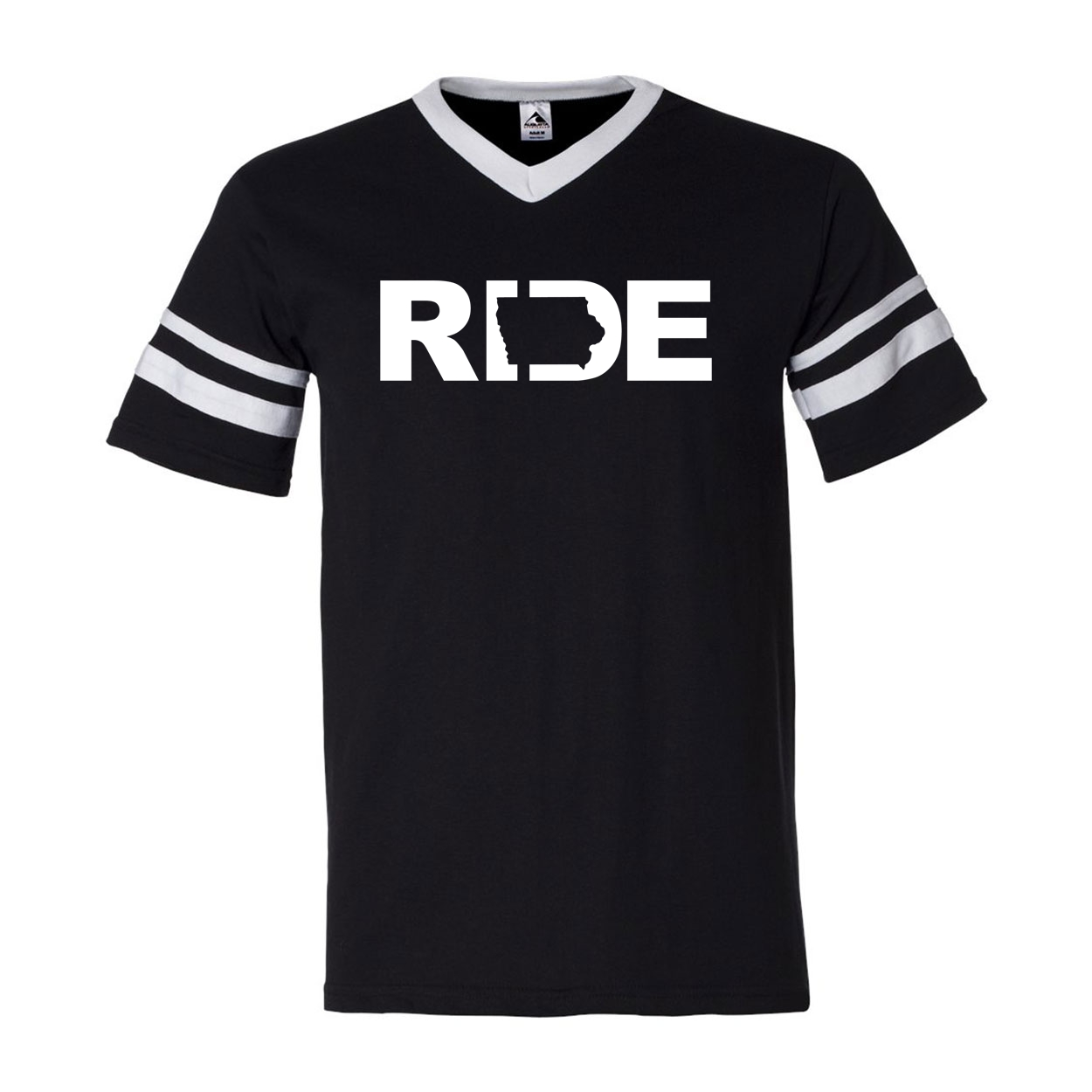 Ride Iowa Classic Premium Striped Jersey T-Shirt Black/White (White Logo)