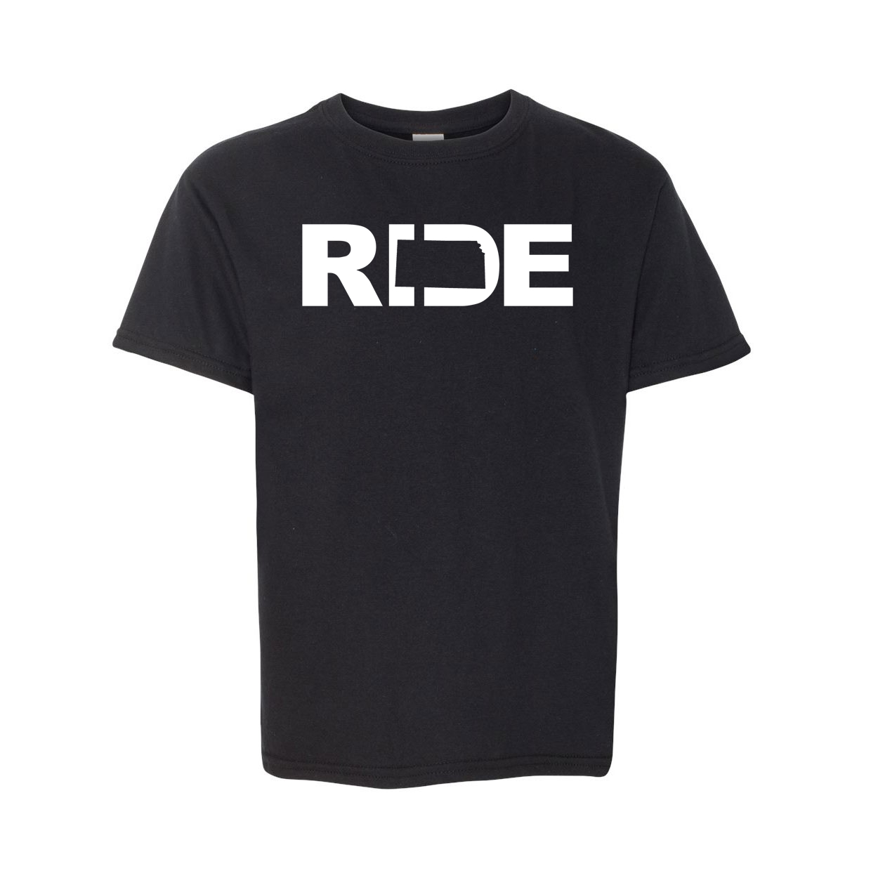 Ride Kansas Classic Youth T-Shirt Black (White Logo)