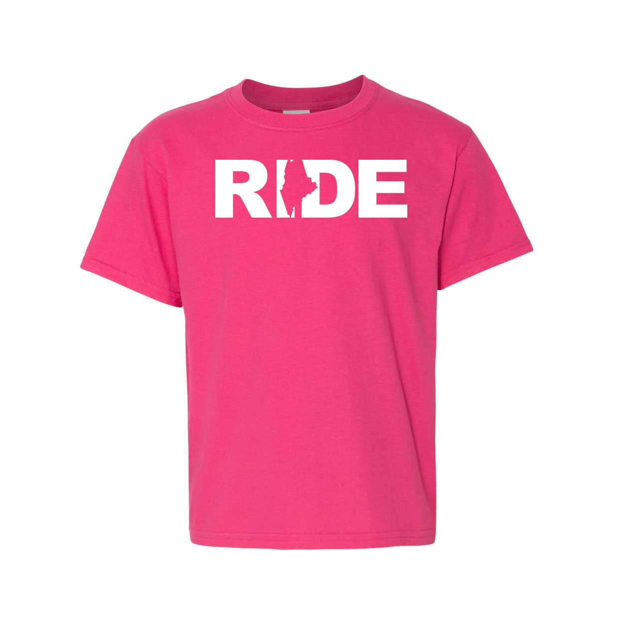 Ride Maine Classic Youth T-Shirt Pink (White Logo)