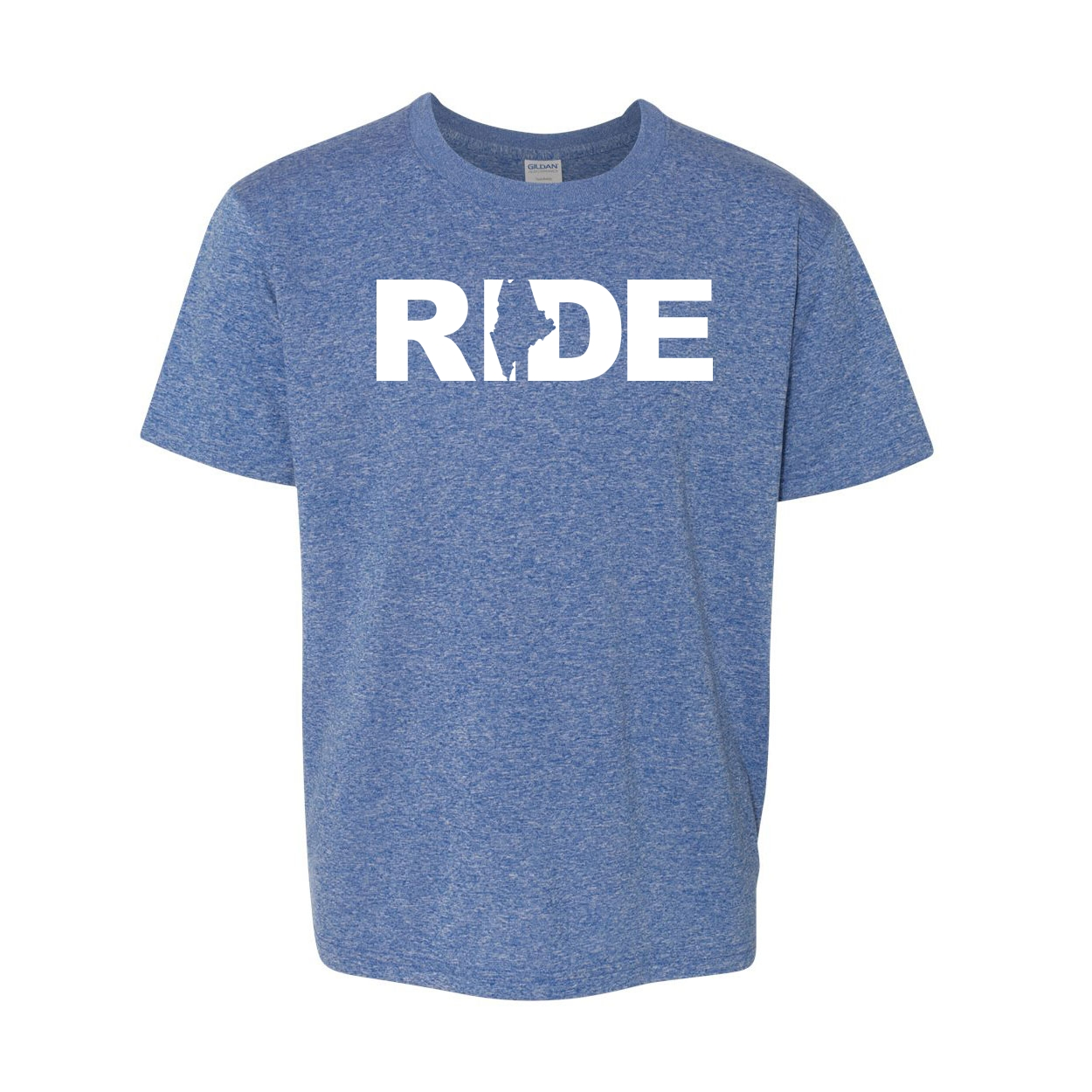 Ride Maine Classic Youth T-Shirt Blue (White Logo)