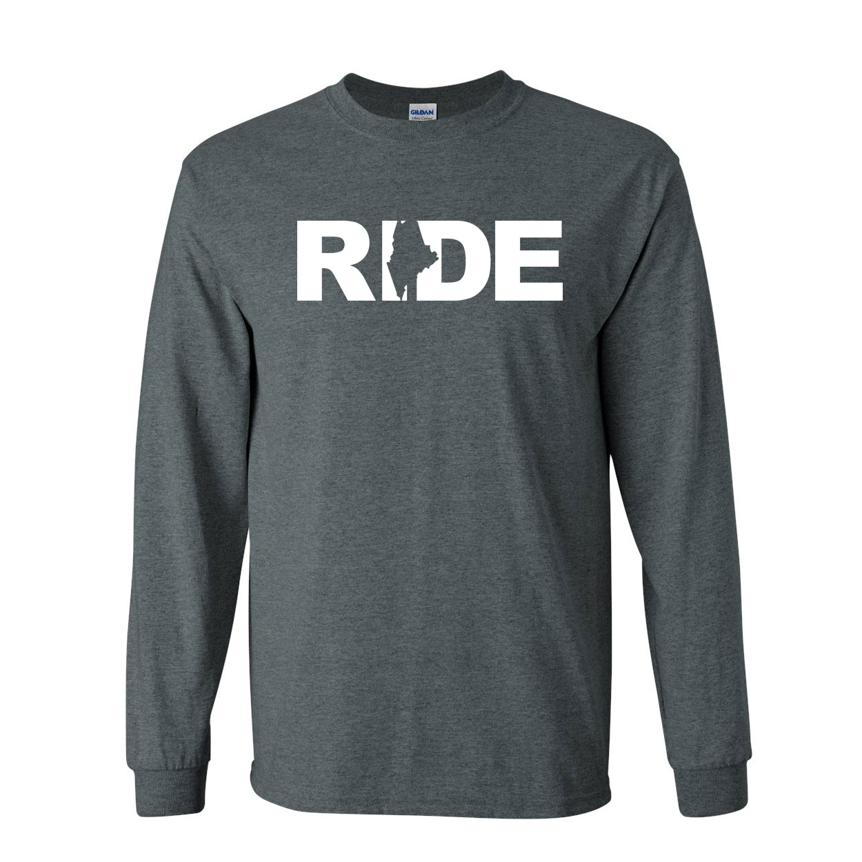 Ride Maine Classic Long Sleeve T-Shirt Dark Heather (White Logo)